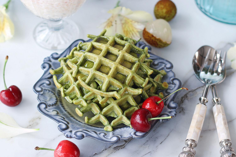 自制抹茶华夫饼+水果西米露,夏季美味下午茶
